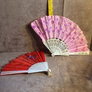 Folding Japanese-style Fans-Pink and Red Flowers
